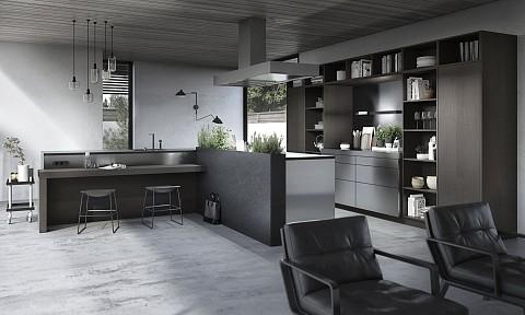 SieMatic Urban hoek keuken met rvs kasten en laag zitgedeelte, ASWA Keukens