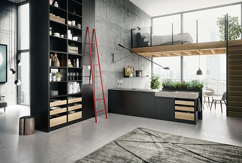 SieMatic Urban zwart keukeneiland met beton keukenblad, ASWA Keukens