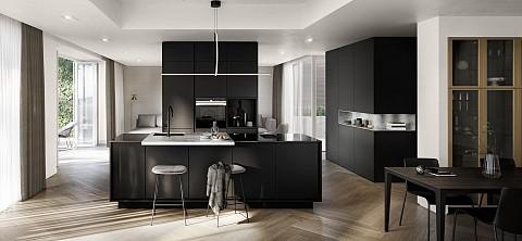 SieMatic Pure - Greeploze keuken zwart kookeiland met krukken, ASWA Keukens