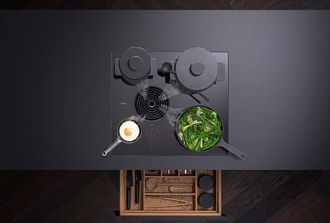 BORA S Pure kookveldafzuiging met 4 pannen, Keukenapparatuur ASWA Keukens