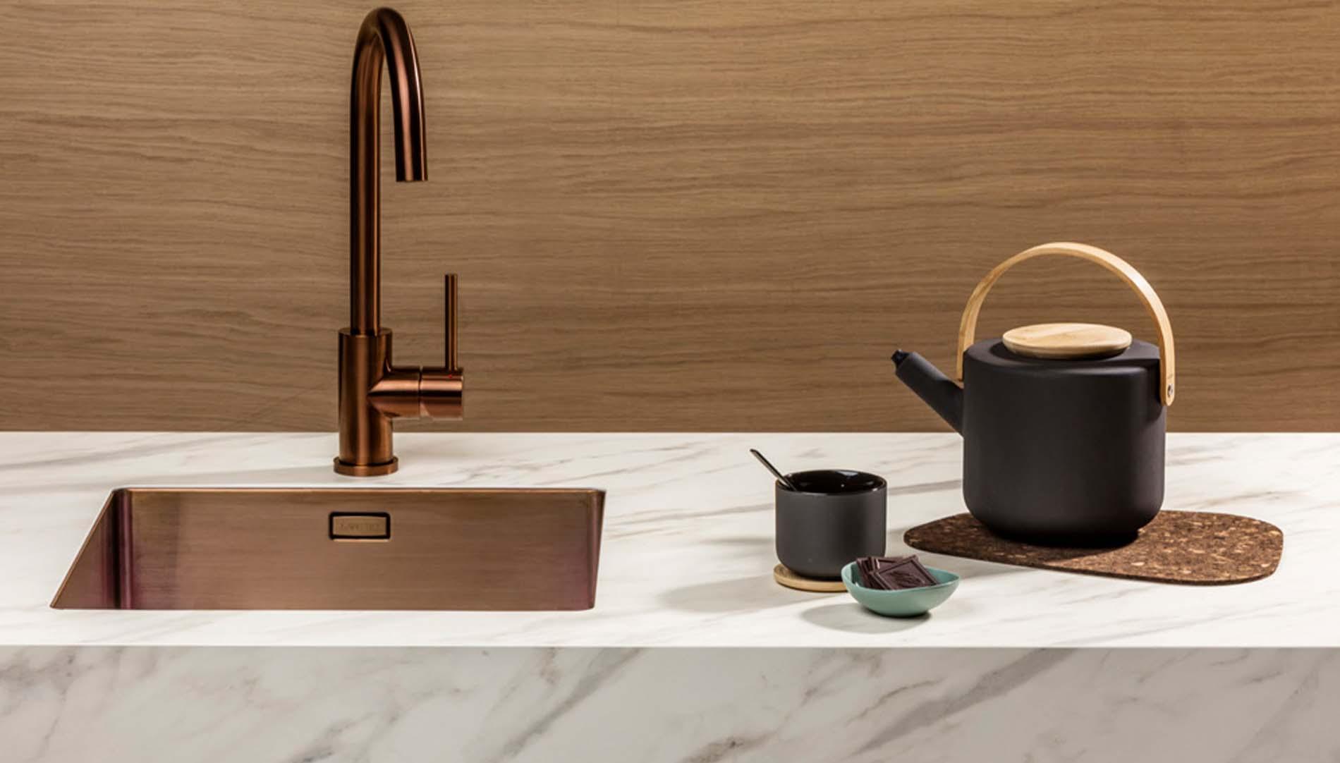 Lanesto keukenkraan Copper met bijpassende spoelbak, Keukenapparatuur ASWA Keukens